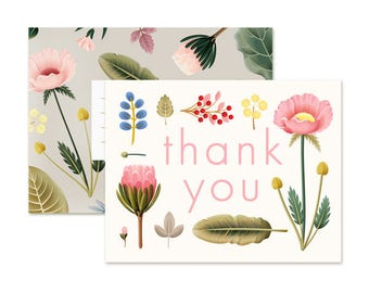 Spring Bloom Thank You Card - Cream
