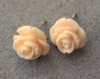 Blooming Rose Earrings -- Cream