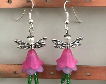 Lucite flower fairy earrings