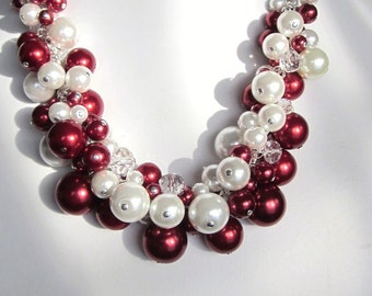 Pearl Cluster Necklace in White and Candy Apple Red - Chunky, Choker, Bib, Necklace, Wedding, Bridal, Bridesmaid, Prom