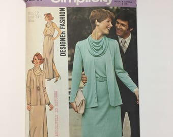 Simplicity 6217 Designer Fashion Vintage 1970s Misses' Dress with Cowl Collar and Cardigan Sewing Pattern