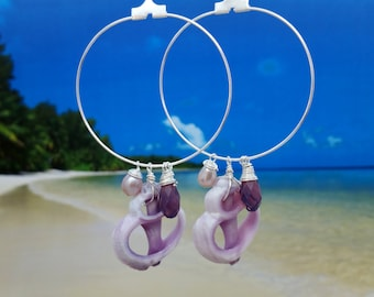 Sea Shell Earrings Seashell Earrings, Beach Jewelry Nautical Jewelry Beach Shell Earrings Sea Shell Jewelry Ocean Jewelry Hawaii Jewelry 068