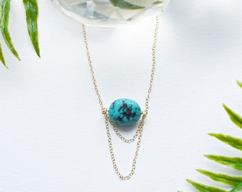 Turquoise necklace with 14k gold chain detail