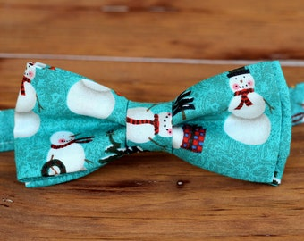 Mens Christmas Bow Tie - mens Winter Snowmen on Blue-Green Cotton bowtie - bow tie for men, teen boys - mens holiday bow tie - gift for him