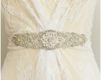 Rhinestone Wedding sash, Crystal Couture Embroidered Belt, Beaded Crystal Pearl Bridal Sash, Hand embroidered and beaded Sash - (CLSB01)