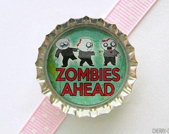 Zombie Magnet, Bottle Cap Magnet, zombie decor, boyfriend birthday gift, zombie gifts, zombie party favors, stocking stuffer, secret santa