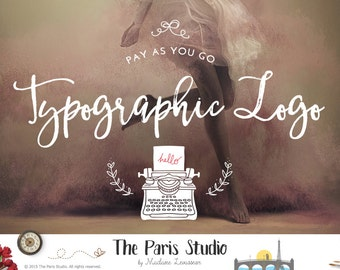 Superposition de typographique Logo Design texte Logo site Web Logo Blog Logo aquarelle à la main Vintage écriture Logo Script texte Logo Pay As You Go
