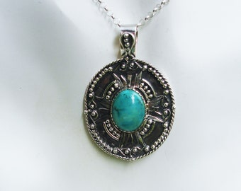 Turquoise necklace, large necklace, turquoise pendant, gift for her, gift ideas, turquoise jewelry, tribal jewelry, blue turquoise jewelry