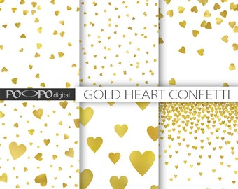 Gold heart digital paper love valentine's day princess glitter foil pattern girly confetti background photo album invitation supplies party