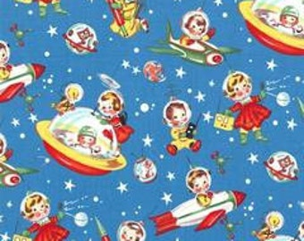 Retro rocket rascals fabric by Michael Miller