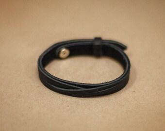 Leather bracelet. Modern Bracelet. Thick leather bracelet. Girlfriend gift. Gift for women. Gift ideas. Gift for her. Black bracelet.
