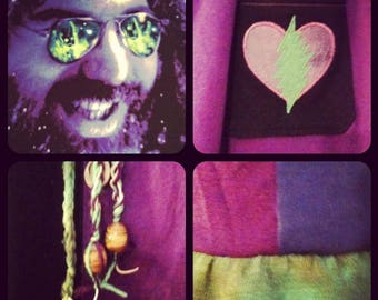 CUSTOM Made to Order... J.Garcia upCycled TShirt and -HeMP- Jersey Flowy Festival Skirt... gd nfa deadhead