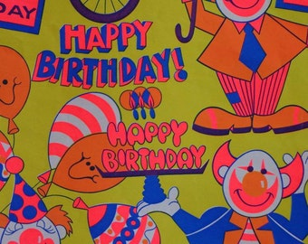 Vintage Happy Birthday Gift Wrap-1960s Clowny Wrapping Paper--1 Bright Sheet