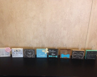 Wooden Block Photo Holders- Rustic Great Gifts Can customize