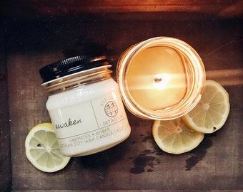Awaken - Lemon Verbena Scented Hand Poured Soy Candle