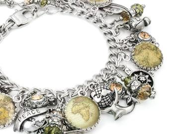 Map Jewelry - Earth Jewelry - Map Charm Bracelet- Vintage World Map - Globe Jewelry - Map Bracelet - Antique World Map - Earth Bracelet