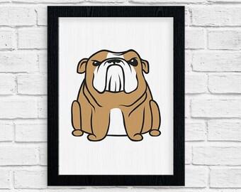 Bulldog Art, Wall Art, Bulldog Print,  Nursery decor, Minimalist Art, Dog Lover Gift, Gift for her, Christmas Gift, Gift for him