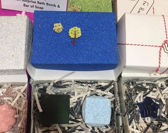 Boys hidden surprise bath bomb and soap gift box