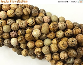 25% OFF 10mm Picture Jasper Faceted Round Gemstone Beads, 15.5 Inch Strand, 39 Beads, Cream Brown Gemstone  Beads Tibet Boho - SJAS115