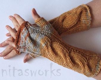 Fingerless Gloves Brown Beige Gray Orange Yellow wrist warmers
