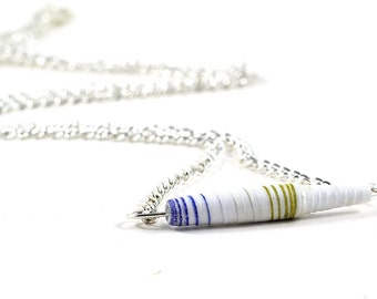 Handmade Paper Bead Necklace Gold White and Blue Striped Pastel Tones Recylced Jewellery - Wedding Accessory