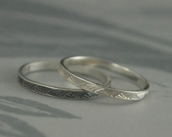 Silver Stacking Ring--Thin Silver Band--Patterned Silver Band--Textured Silver Ring--Japanese Brush Strokes Band--Silver Wedding Ring