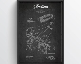 1904 Indian Motorcycle Patent Wall Art Poster, Indian Poster, Indian Print, Home Decor, Gift Idea, TRBM10P