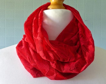 Red lace snood scarf, summer lace cowl scarf, red lace loop scarf, goth red lace scarf