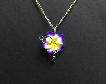 Purple Flower Necklace, Sculpey Clay Flower Pendant Necklace