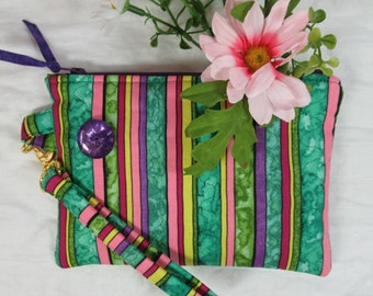 Quilted Wristlet - Bright Stripes with Detachable Strap