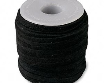 Genuine Suede Leather Cord Lace Black 3mm wide for necklaces and bracelets, 10 or 25 ft.