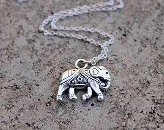 Elephant Necklace // Lucky Elephant Necklace // Silver Boho Necklace // Thai Elephant Necklace // Travel Necklace