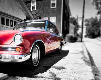 Red Car Photo, selective color photograph, red, black and white, panoramic fine photography print, Studebaker
