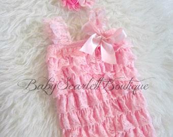 Pink Lace Petti Romper with Headband Set
