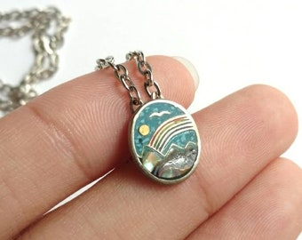 Vintage necklace scenic mosaic inlay turquoise soy abalone mountains bird and sun nature Mexico silver tone