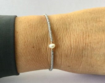 Bracelet with freshwater pearl rosegold 925