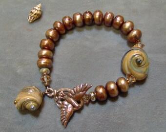 REVERSED - Pearl and Lampwork Bracelet - Freshwater Pearl Artisan Bracelet - Artisan Lampwork and Pearl Bracelet - July ABS - SRAJD