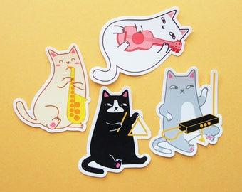 FOUR PACK Musical Cats Vinyl Stickers natelledrawsstuff