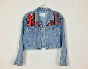 Vintage 1980s Cropped Denim Jacket / Serape Fabric / Lightwash Denim / Made by Chazz