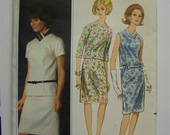 UNcut Vintage 1960s Butterick 4002  two-piece Jackie O style DRESS Pattern Miss sz 12