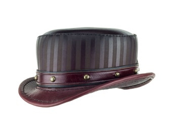"""Oxblood Red Leather Hat """"Modest Baron"""" Oxblood Short Height Top Hat - Steampunk/Carney Couture -Red Fade with Dome Stud Band"""