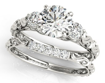 1ct  6.0mm Forever One Moissanite  Solid 14k white gold Antique Floral Style diamond Engagement Ring Set Ov61758