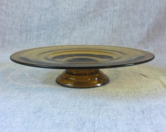 Vintage Gold Encrusted Amber Glass Low Cake Stand