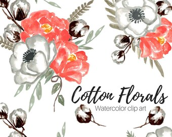 Watercolor Flower Clip Art - Wedding Clip Art - Rustic Clip Art - Cotton Clip Art - Commercial Use
