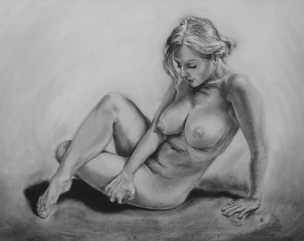 Charcoal figure study - original artwork