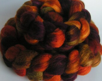 Roving Merino Silk Top Fiber Velvet HARVEST HOME Wine Phatfiber 50 50 Russet Moss Luxurious Handspinning Spin Felt Craft Roving 2 ounces