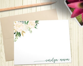 Personalized Stationary, Custom Stationery Set, Thank You Cards, Floral Notecards, A2 Note Cards With Envelope, 12 Flat Note Cards, PS013
