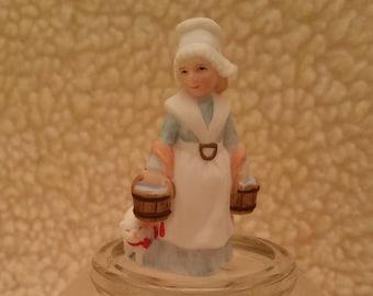 Vintage Lefton, Laurie Silvers, Milkmaid, Lefton Figurines, Colonial Village, Christmas Village, George Z. Lefton, Christmas Figurines,10619