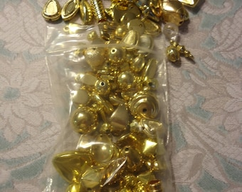 Lot of Vintage, New Old Stock, Gold Tone Metalized Beads, 2.5 Oz, Nice Quality, Lot 1