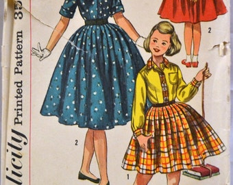 Vintage Sewing Pattern Simplicity 2164 Girls'  Shirtwaist  Dress Complete Size 8